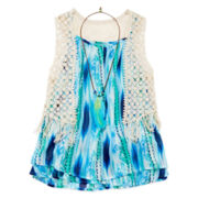 Beautees 3-pc. Tie Dye Tank Top with Crochet Fringe Vest and Necklace - Girls 7-16