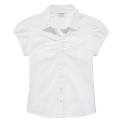 IZOD® Short-Sleeve Woven Shirring Top - Girls 7-18 and Plus