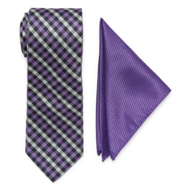 jcpenney.com | U.S. Polo Assn.® Check Tie and Solid Pocket Square Set