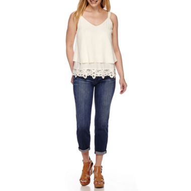 jcpenney.com | a.n.a® Battenburg Bottom Tank Top and Roll-Cuff Skinny Ankle Jeans