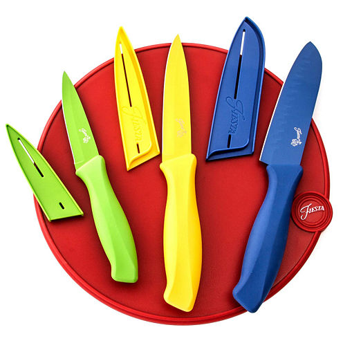 Fiesta® 7-pc. Cutlery Set with Scarlet Round Cutting Board