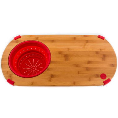 jcpenney.com | Fiesta® Bamboo Cutting Board with Silicone Colander