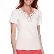 Sag Harbor Bahama Mama Short-Sleeve Embroidery Top