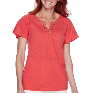 jcpenney.com | Sag Harbor Bahama Mama Short-Sleeve Embroidered Top