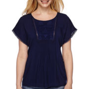 St. John's Bay® Short-Sleeve Lace-Bib Dolman Tee - Petite