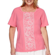 Alfred Dunner® Acapulco Short-Sleeve Seashell Center Tee - Plus