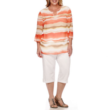 jcpenney.com | Alfred Dunner® Feels Like Spring 3/4-Sleeve Watercolor Print Shirt or Pull-On Cargo Capris