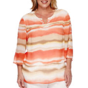 Alfred Dunner® Feels Like Spring 3/4-Sleeve Watercolor Print Shirt - Plus