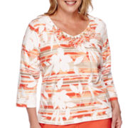 Alfred Dunner® Feels Like Spring 3/4-Sleeve Leaf Striped Tee - Plus