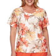 Alfred Dunner® Feels Like Spring Short-Sleeve Tropical Lace Top - Plus
