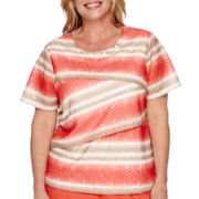 Alfred Dunner® Feels Like Spring Short-Sleeve Striped Tiered Burnout Tee - Plus