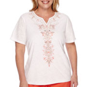 Alfred Dunner® Feels Like Spring Short-Sleeve Center Scroll Embroidery Top - Plus