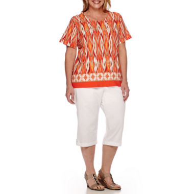 jcpenney.com | Alfred Dunner® Feels Like Spring Short-Sleeve Diamond Print Tee or Pull-On Cargo Capris
