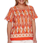 Alfred Dunner® Feels Like Spring Short-Sleeve Diamond Print Tee - Plus