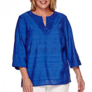 Alfred Dunner® Tropical Punch 3/4-Sleeve Lace Tunic - Plus