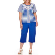 Alfred Dunner® Short-Sleeve Embroidered Tee or Pull-On Capris