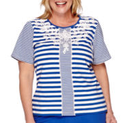 Alfred Dunner® Short-Sleeve Embroidered Stripe Tee - Plus