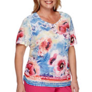 Alfred Dunner® Short-Sleeve Watercolor Floral Top - Plus