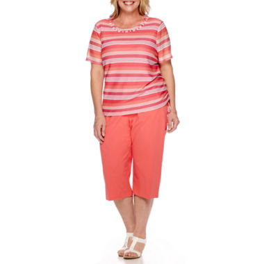 jcpenney.com | Alfred Dunner® Tropical Punch Short-Sleeve Texture Stripe Top or Pull-On Capris - Plus