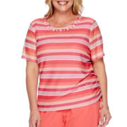 Alfred Dunner® Tropical Punch Short-Sleeve Texture Stripe Top - Plus