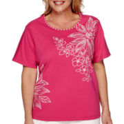 Alfred Dunner® Tropical Punch Short-Sleeve Floral Asymmetric Tee - Plus