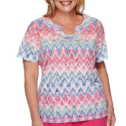 Alfred Dunner® Tropical Punch Short-Sleeve Zig-Zag Burnout Tee - Plus