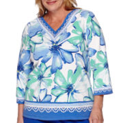 Alfred Dunner® Tropical Punch 3/4-Sleeve Floral Border Tee - Plus