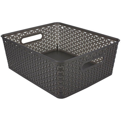 "Home Basics 7"" Wide Transparent Plastic Storage Basket"