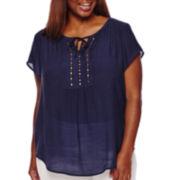 Liz Claiborne® Short-Sleeve Pintuck Peasant Blouse - Plus