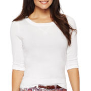 jcp™ 3/4-Sleeve Patch Sweater - Petites