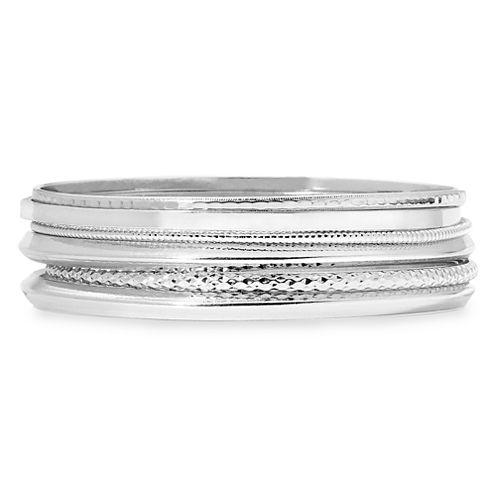 Liz Claiborne® Silver-Tone 6-pc. Bangle Bracelet Set