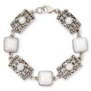 Liz Claiborne® White and Marcasite Square Flex Bracelet