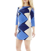 Tiana B 3/4-Sleeve Print Shift Dress - Petite