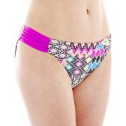 Arizona Side-Shirred Print Hipster Swim Bottoms - Juniors