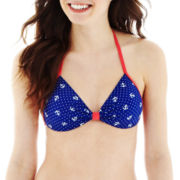 Arizona Nautical Print Molded Bralette Halter Swim Top - Juniors