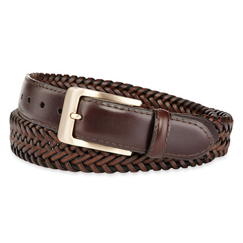 Stafford® Leather Braided Belt