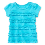 Okie Dokie® Short-Sleeve Ruffle Top - Girls 12m-24m