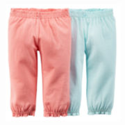 Carter's® 2-pk. Cinched Pants - Baby Girls newborn-24m