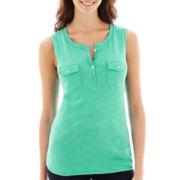 Liz Claiborne® Sleeveless Slub-Knit Henley Tank Top - Petite