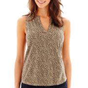 Liz Claiborne® Sleeveless Henley T-Shirt - Petite
