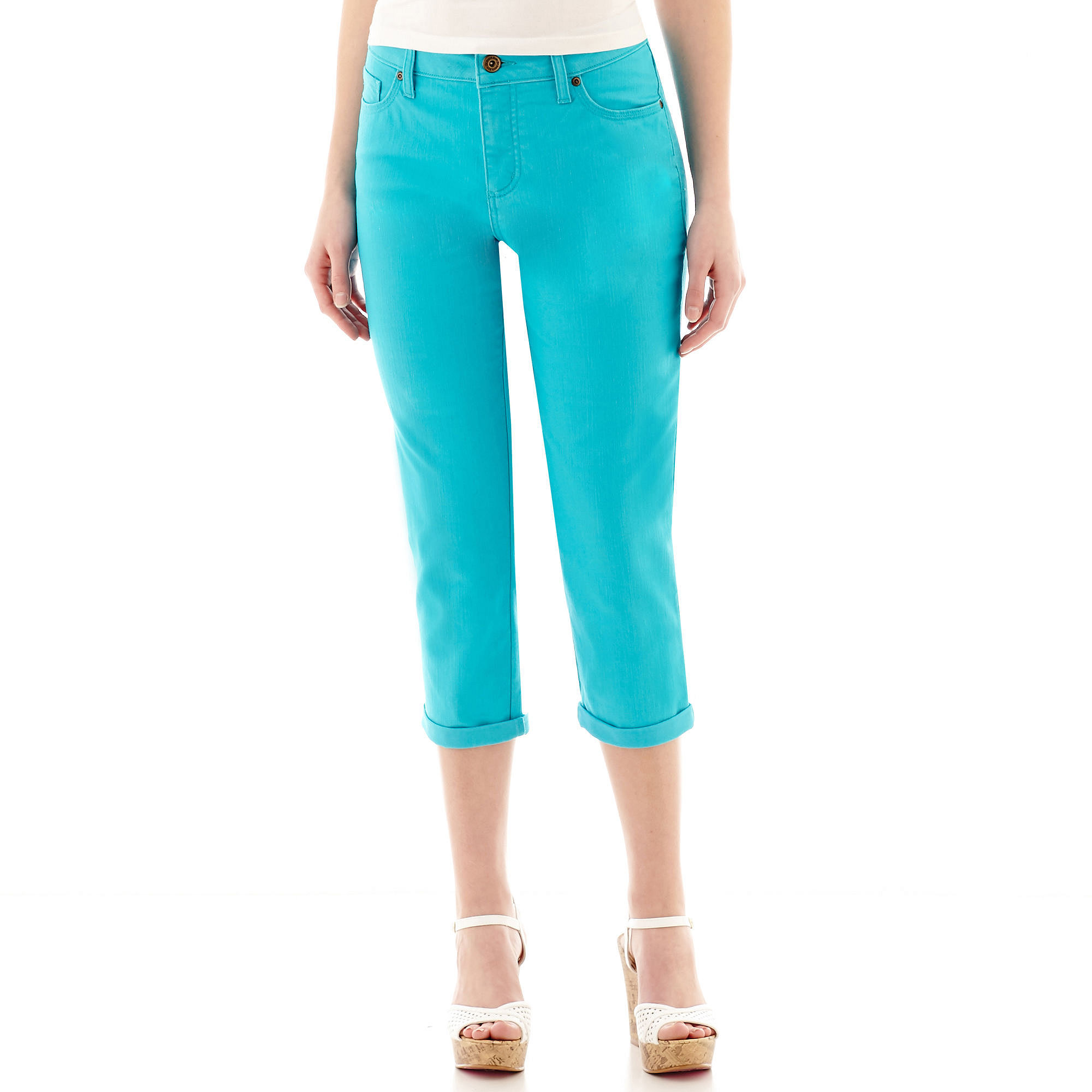St. John's Bay Secretly Slender Five-Pocket Denim Cropped Jeans