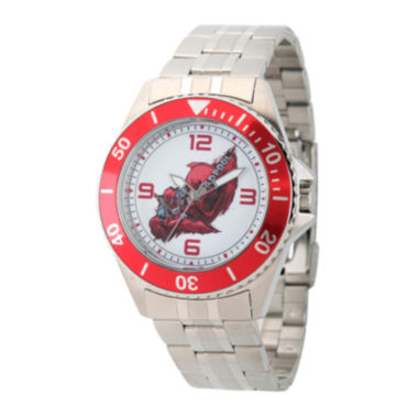 jcpenney.com | Marvel® Mens Deadpool Silver-Tone and Red Honor Bracelet Watch