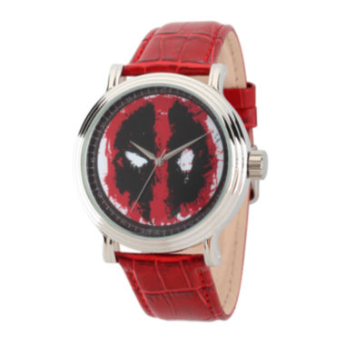jcpenney.com | Marvel® Mens Deadpool Vintage Red Leather Strap Watch