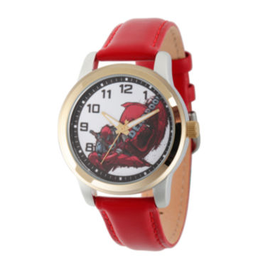 jcpenney.com | Marvel® Mens Deadpool White Dial Red Leather Strap Watch