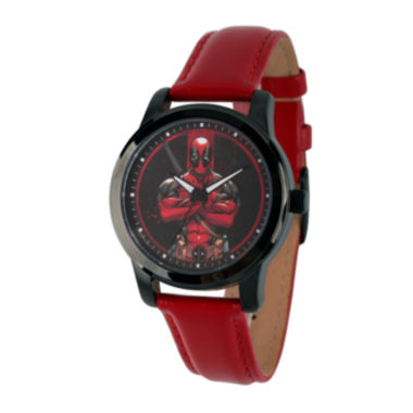 jcpenney.com | Marvel® Mens Deadpool Red Dial Leather Strap Watch
