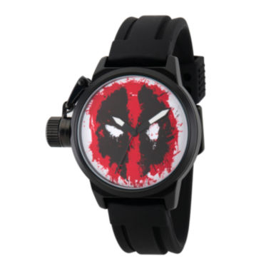 jcpenney.com | Marvel® Mens Deadpool Red Dial Black Rubber Strap Watch