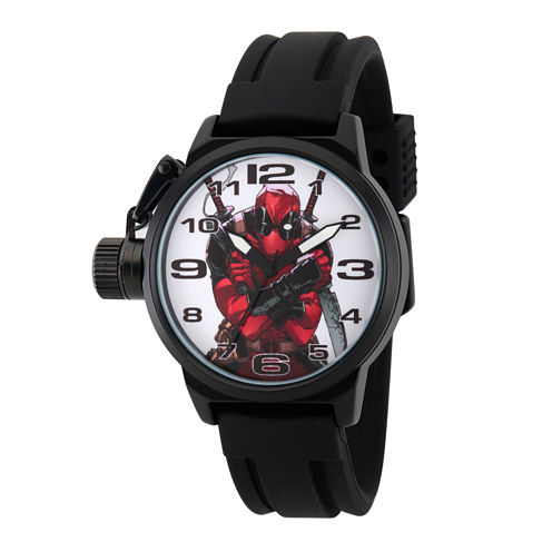 Marvel® Mens Deadpool White Dial Black Rubber Strap Watch