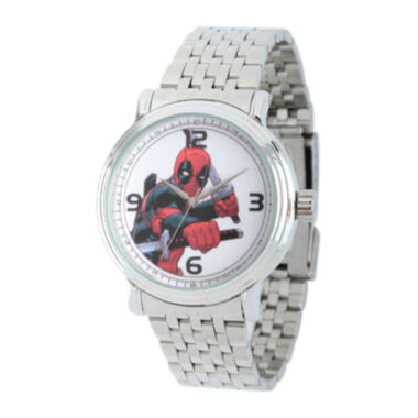 jcpenney.com | Marvel® Mens Deadpool Sword Silver-Tone Stainless Steel Bracelet Watch