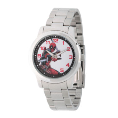 jcpenney.com | Marvel® Mens Deadpool Silver-Tone Stainless Steel Bracelet Watch