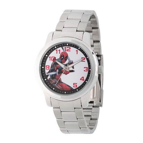 Marvel® Mens Deadpool Silver-Tone Stainless Steel Bracelet Watch